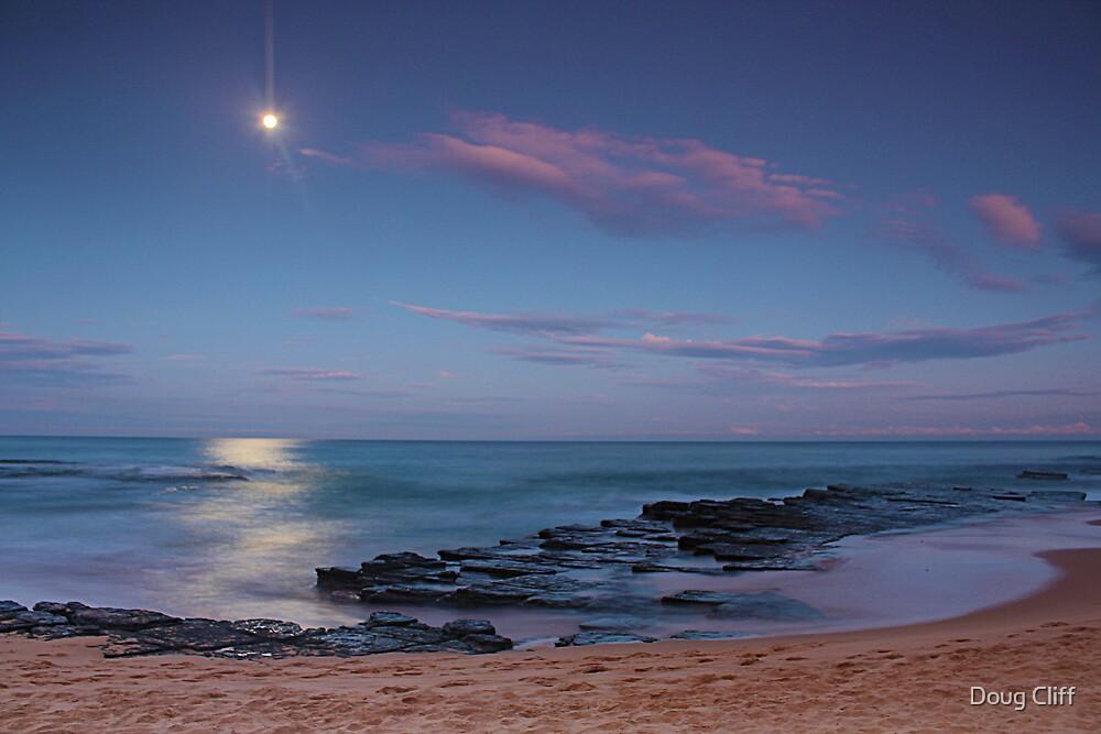 Moon over Turrimetta beach  by Doug Cliff