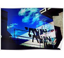 Blue Clothesline; Distorted Poster