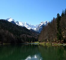 Lake Riessersee. Mountain Zugspitze. by Daidalos