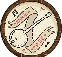 Banjo Babe Folk Music Embroidery Style Patch by Jesse Knight