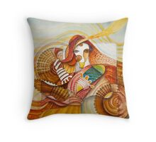 Woman with baskets Throw Pillow