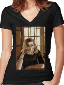 Girl with blond hair and blue eyes drinking lemonade Women's Fitted V-Neck T-Shirt