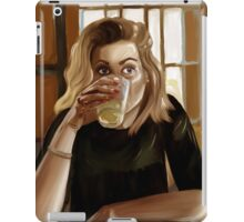 Girl with blond hair and blue eyes drinking lemonade iPad Case/Skin