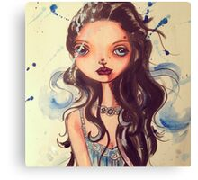 Big eyed water color splatter painting beauty Canvas Print