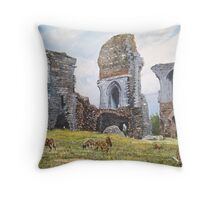 Soay sheep at Corfe Castle. Throw Pillow