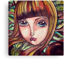 Big eyed forest girl Canvas Print