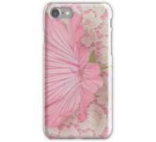 Pink Lavatera Blossom On Vintage Lace - Macro iPhone Case/Skin
