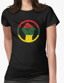 RASTA BLACK POWER FIST Womens Fitted T-Shirt