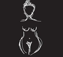 Woman outline sketch white on black by aprilmareebevin