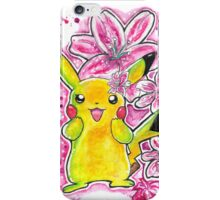 Cute Lily Pikachu - Watercolor Painting - Flowers - T shirts + More iPhone Case/Skin