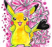 Cute Lily Pikachu - Watercolor Painting - Flowers - T shirts + More by Jonny2may