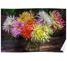 Bouquet of dahlias Poster
