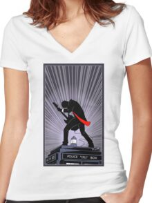 Doctor Who: Shredding Through Time Women's Fitted V-Neck T-Shirt
