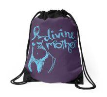 Divine Mother Pregnant Goddess purple blue  Drawstring Bag