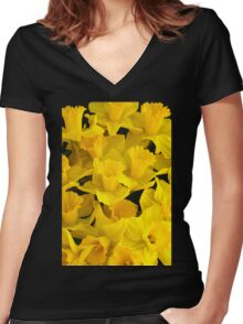 A Bunch of Daffodils Women's Fitted V-Neck T-Shirt
