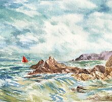 Sailboat At The Seashore by Irina Sztukowski