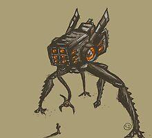 Giant robot vs little puny man by littleizzy