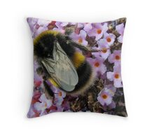 Up Close and Personal - Bumble Bee at Work  Throw Pillow