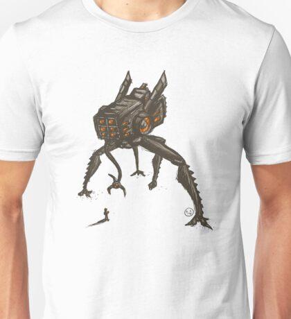 Giant robot vs little puny man Unisex T-Shirt
