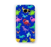 Dinosaurs rainbow pattern blue background Samsung Galaxy Case/Skin