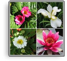 Flower Collage Featuring Deep Pink and White Flowers Canvas Print