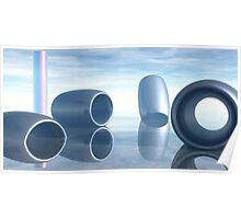 Glass Cylinder behind Steely Shapes Poster