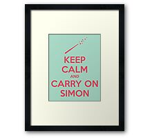 Keep Calm and Carry On Simon—Pink Text Framed Print