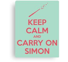 Keep Calm and Carry On Simon—Pink Text Canvas Print