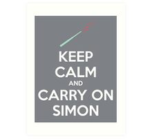 Keep Calm and Carry On Simon—White Text Art Print