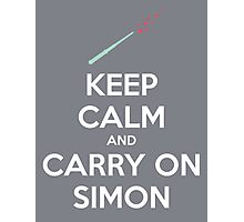 Keep Calm and Carry On Simon—White Text Photographic Print