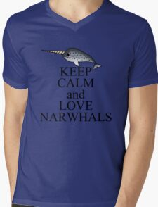 Keep calm and love narwhals Mens V-Neck T-Shirt