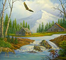 Mountain Cabin with Deer and Waterfalls by Vivian Eagleson