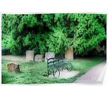 Bench in a Churchyard Poster