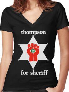 Thompson For Sheriff  Women's Fitted V-Neck T-Shirt