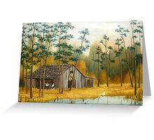 Old Barn with Chickens and Pond Greeting Card