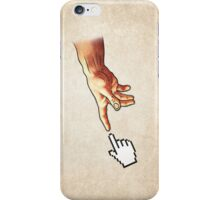 Funny 8bit Nerd & Geek Humor (Creation of Adam Parody) iPhone Case/Skin