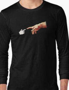 Funny 8bit Nerd & Geek Humor (Creation of Adam Parody) Long Sleeve T-Shirt