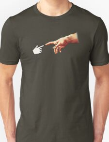 Funny 8bit Nerd & Geek Humor (Creation of Adam Parody) T-Shirt