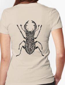 Rhinoceros Beetle Tribal Design  Womens Fitted T-Shirt