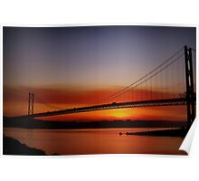 Sunset Over The Forth Road Bridge, Scotland. Poster