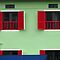 Singapore - Red windows at Boat Quay by Maureen Keogh