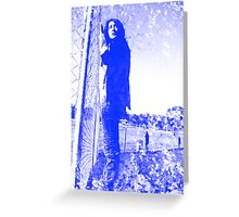 grungy blue Greeting Card