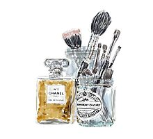 Perfume and Makeup Brushes Photographic Print