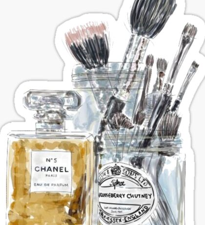 Perfume and Makeup Brushes Sticker