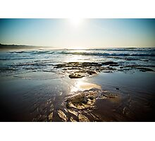 Waves On A Rocky Beach With Blue Skies Photographic Print