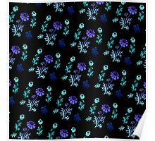 Wildflowers and Berries (blue) Poster