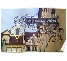 Jewish street sign in Lindow Poster