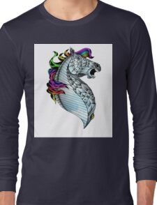Ornate Color Horse Long Sleeve T-Shirt