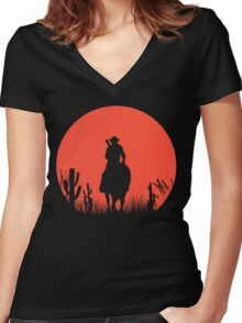 Lonesome Cowboy Women's Fitted V-Neck T-Shirt