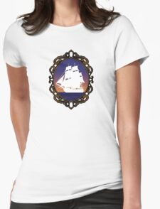 Ship in a Frame Womens Fitted T-Shirt
